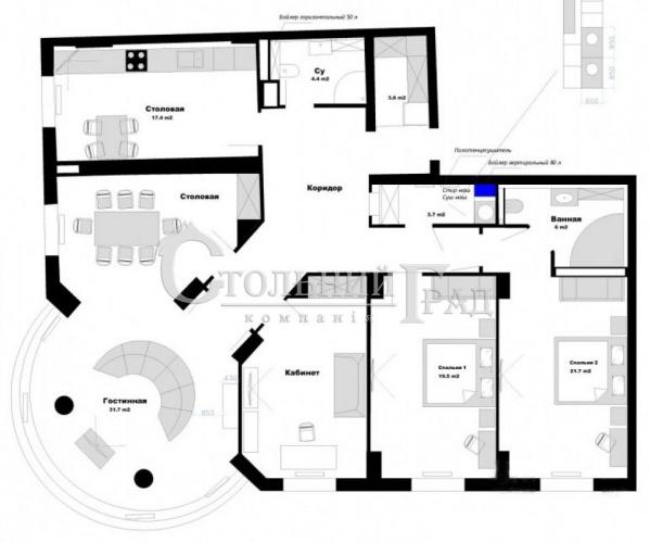 Первая аренда 5-к квартиры в тихом центре Киева - АН Стольный Град фото 17