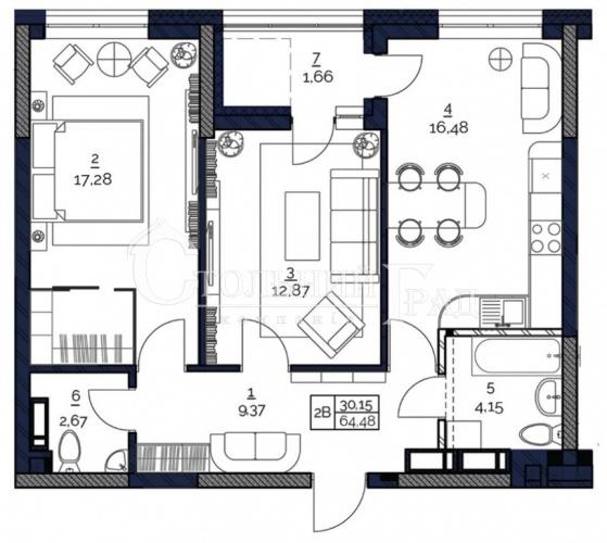Продам 2 до квартиру 64.48м2 в комплексі комфорт + ЖК POLARIS на Мінському масиві - АН Стольний Град фото 3