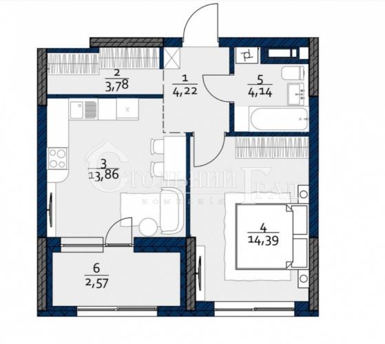 Продам 1-к квартиру 43 м2 на Мінському масиві ЖК POLARIS - АН Стольний Град фото 1
