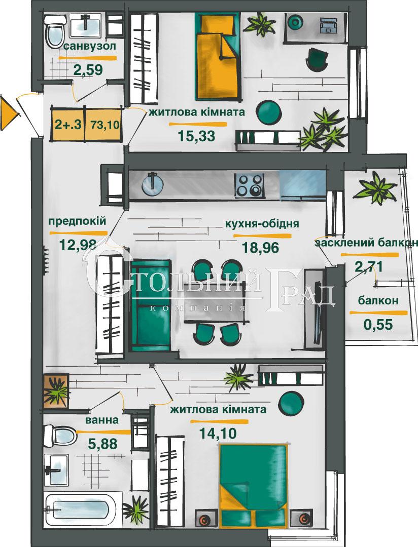 Продаж 2-к видової квартири 74 кв.м в новому ЖК Сирецькі сади - АН Стольний Град фото 4